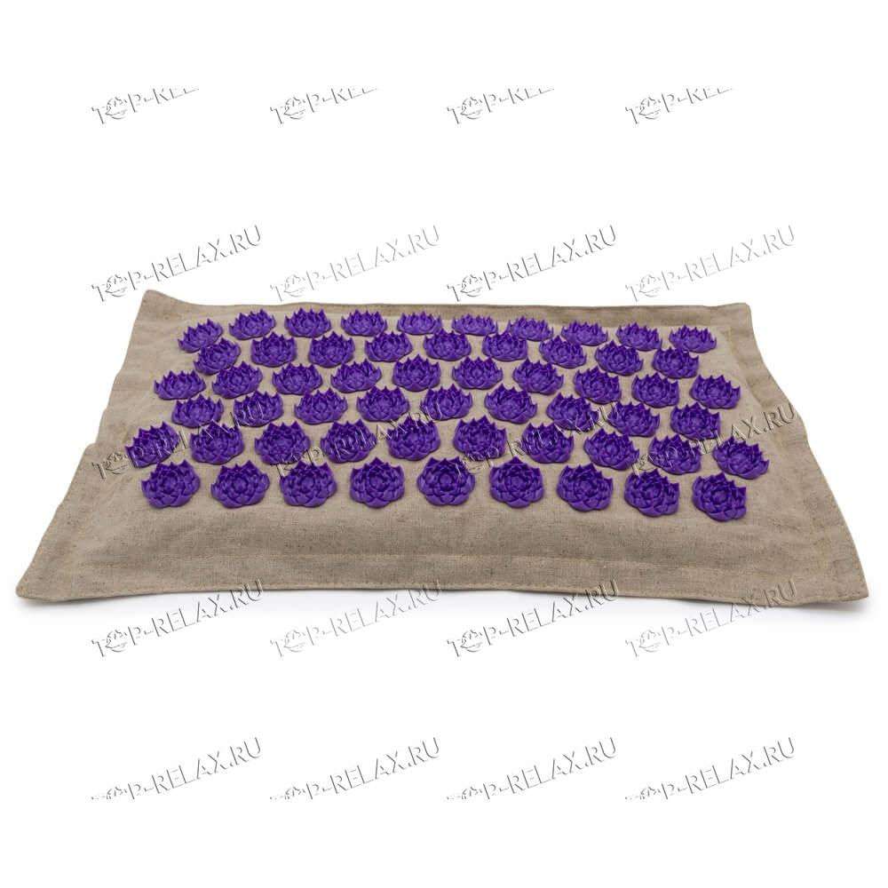 Массажная акупунктурная подушка (квадратная) EcoRelax, фиолетовый - 2