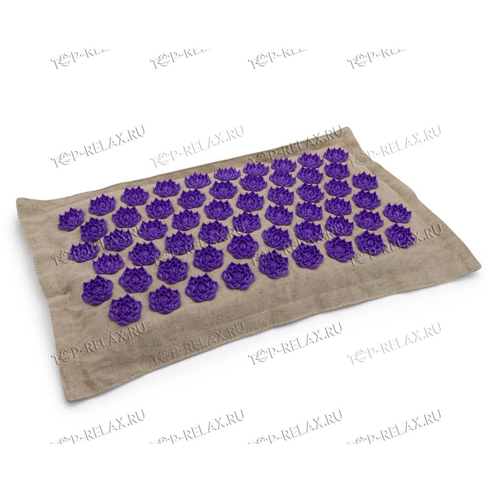 Массажная акупунктурная подушка (квадратная) EcoRelax, фиолетовый