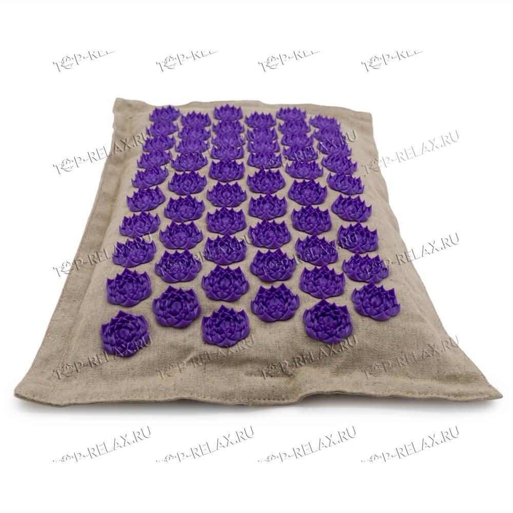 Массажная акупунктурная подушка (квадратная) EcoRelax, фиолетовый - 4