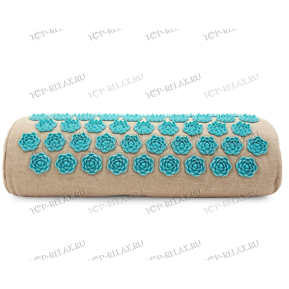 Массажная акупунктурная подушка (валик) EcoRelax, голубой - 2