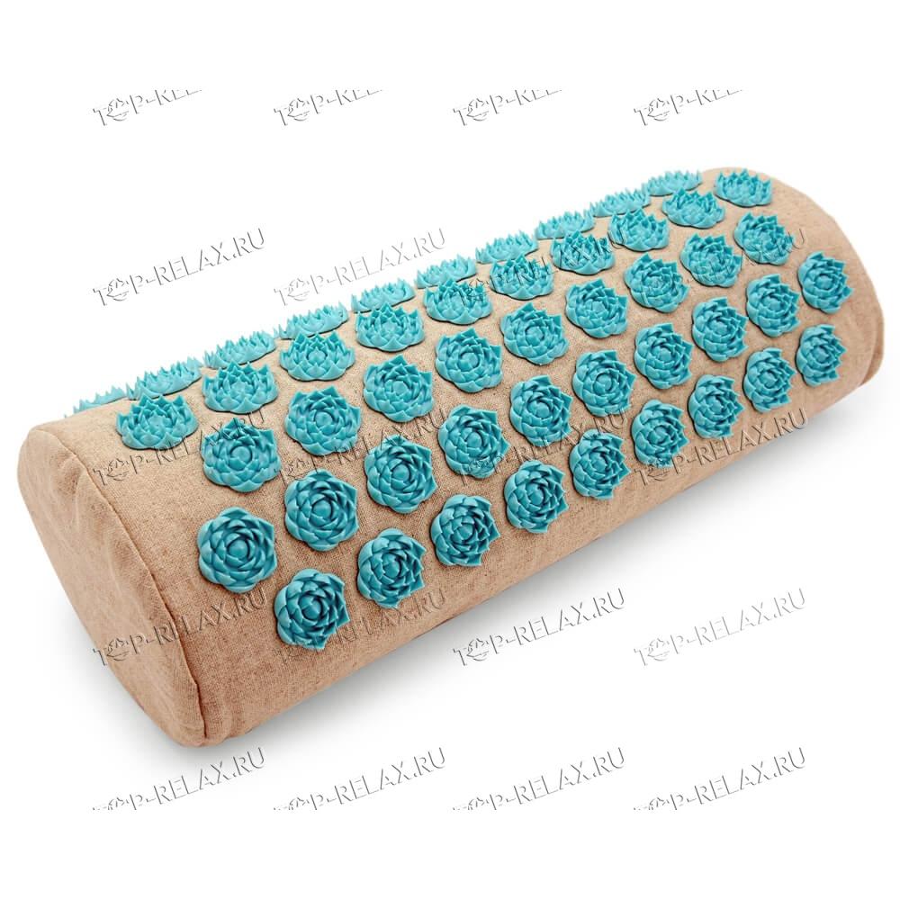 Массажная акупунктурная подушка (валик) EcoRelax, голубой